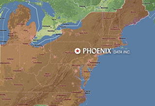 Click on this map for mileage distances from Phoenix Data, Inc., throughout the East Coast!